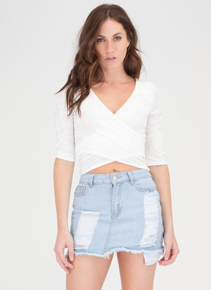 Wrap Party Crushed Velvet Crop Top IVORY