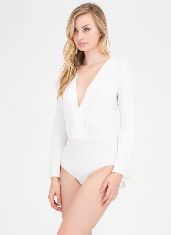 Ring The Bell Sleeve Plunging Bodysuit IVORY