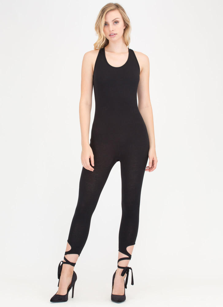 Step Right Up Tied Ankle Jumpsuit BLACK