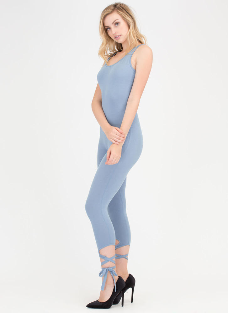 Step Right Up Tied Ankle Jumpsuit BLUE