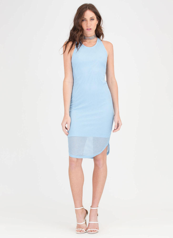 Light Work Round Hem Ribbed Dress BLUE