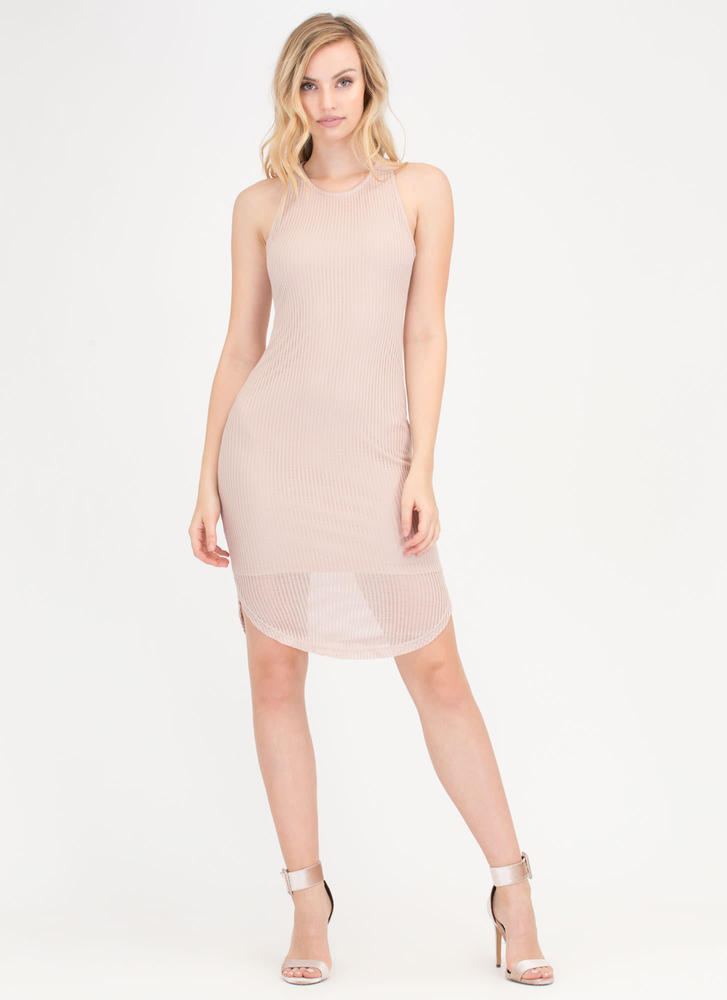 Light Work Round Hem Ribbed Dress TAUPE