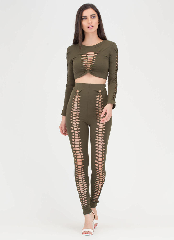 Can You Net Crop Top And Legging Set OLIVE