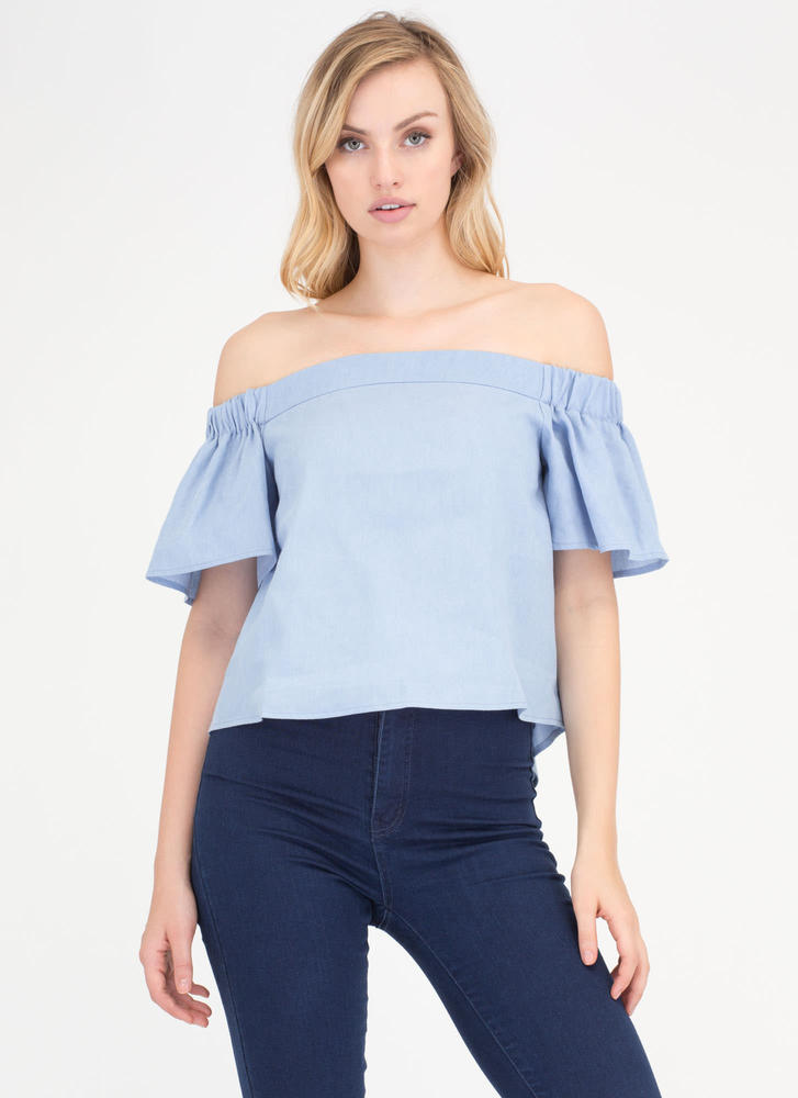 Play Date Off-Shoulder Chambray Top