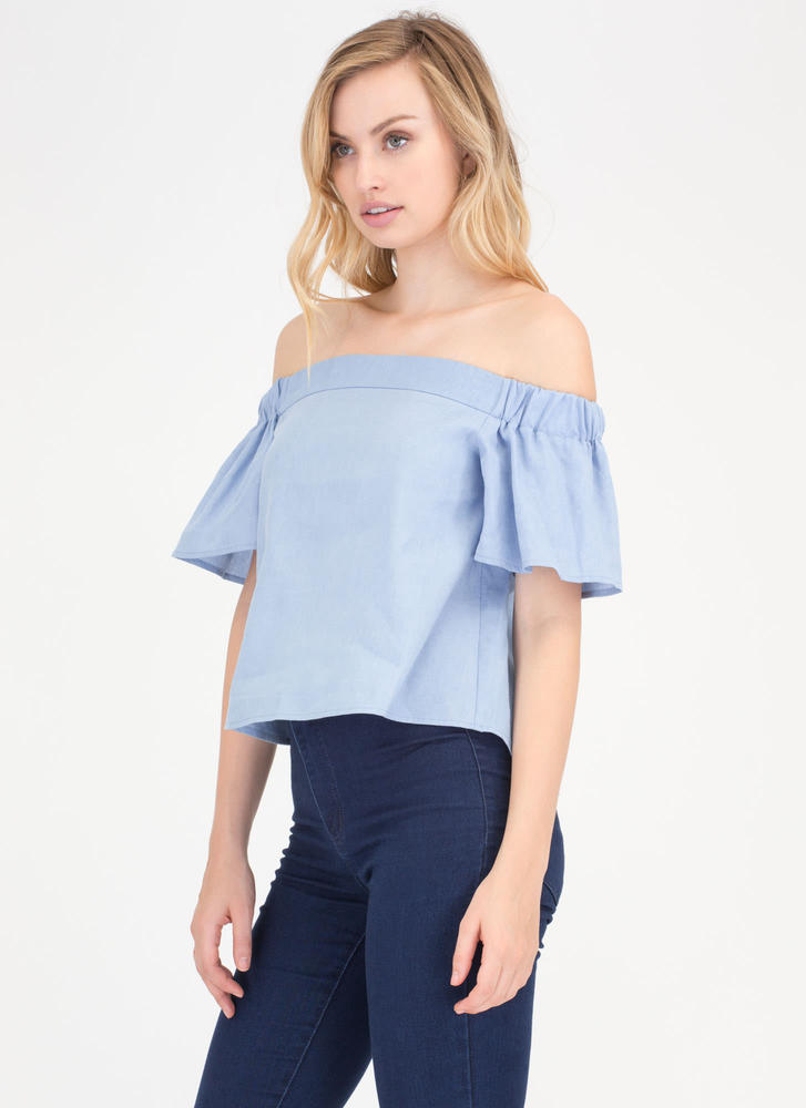 Play Date Off-Shoulder Chambray Top LTBLUE