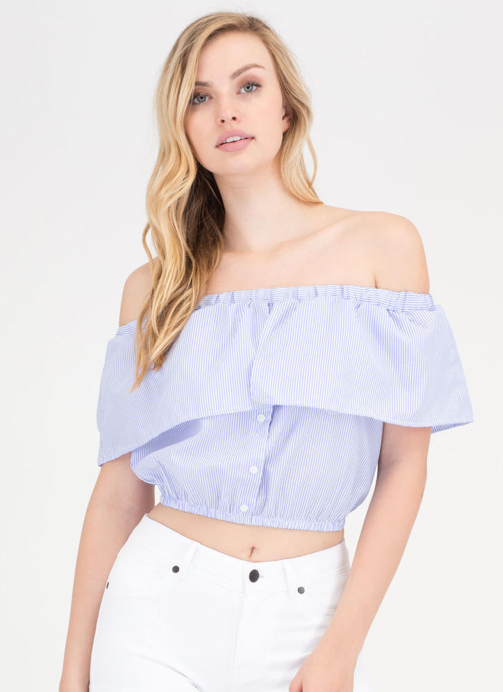 In Lines Striped Off-Shoulder Crop Top