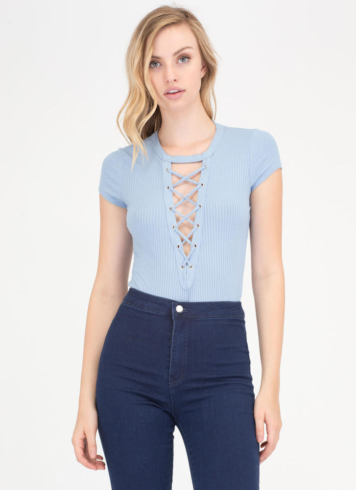 So Easy Ribbed Lace-Up Thong Bodysuit BLUE