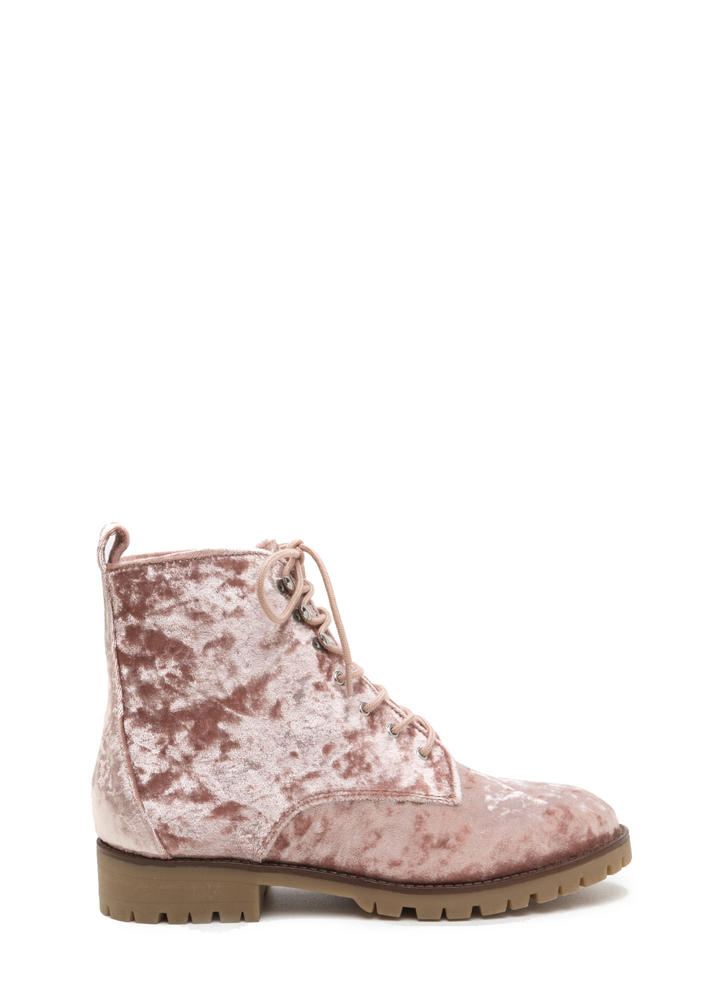 Velvet Touch Lace-Up Combat Boots