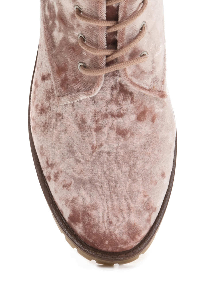 Velvet Touch Lace-Up Combat Boots PINK