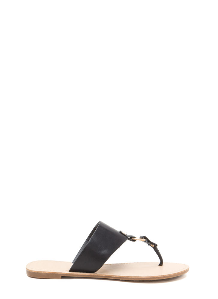 Ring In The New Faux Leather Sandals BLACK