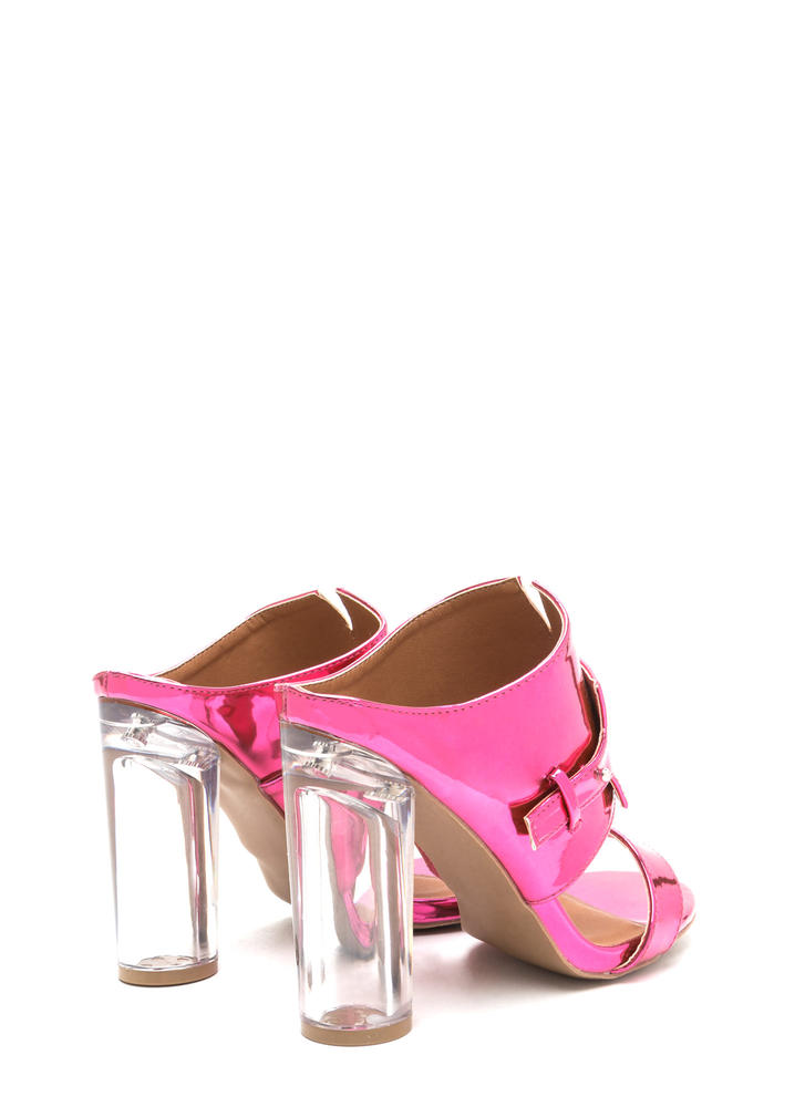 Gleam Up Clear Chunky Mule Heels FUCHSIA