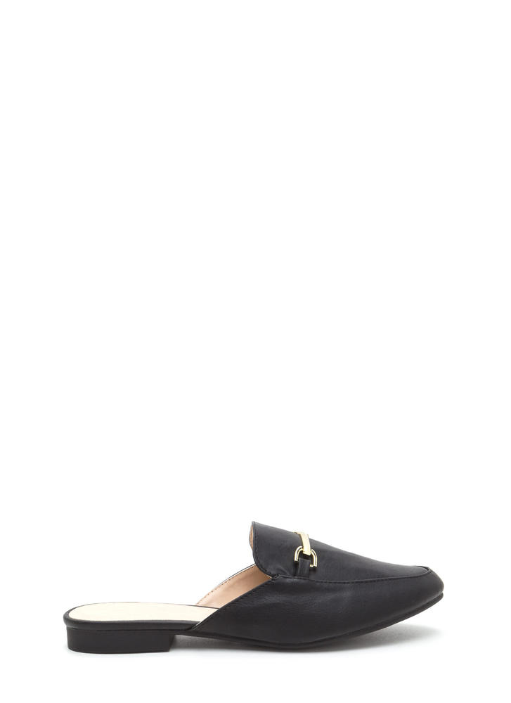 Oh Chic Vegan Leather Smoking Flats BLACK