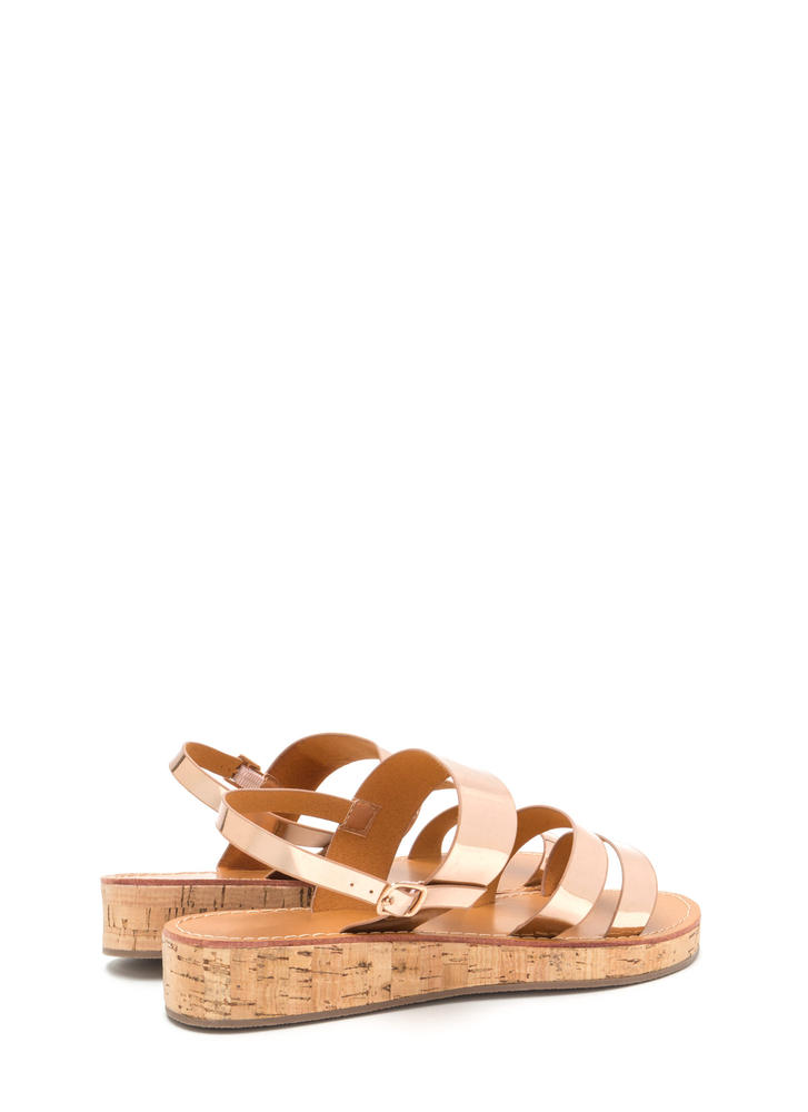 Fancy Footwork Metallic Sandals ROSEGOLD