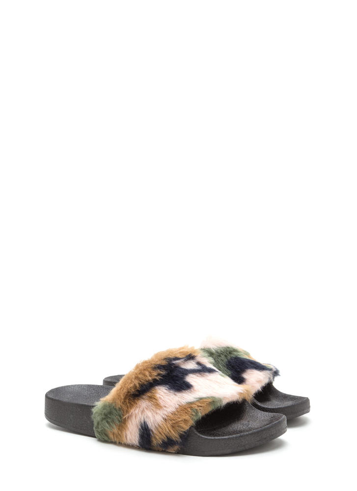 Army Brat Faux Fur Slide Sandals CAMOUFLAGE