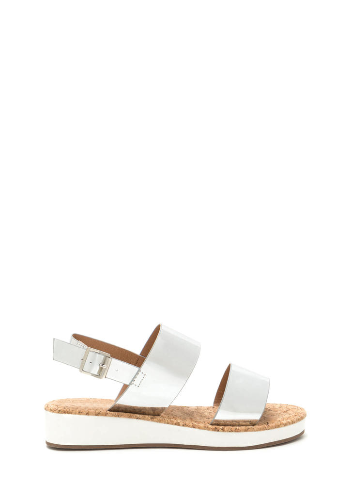 Double Date Metallic Wedge Sandals