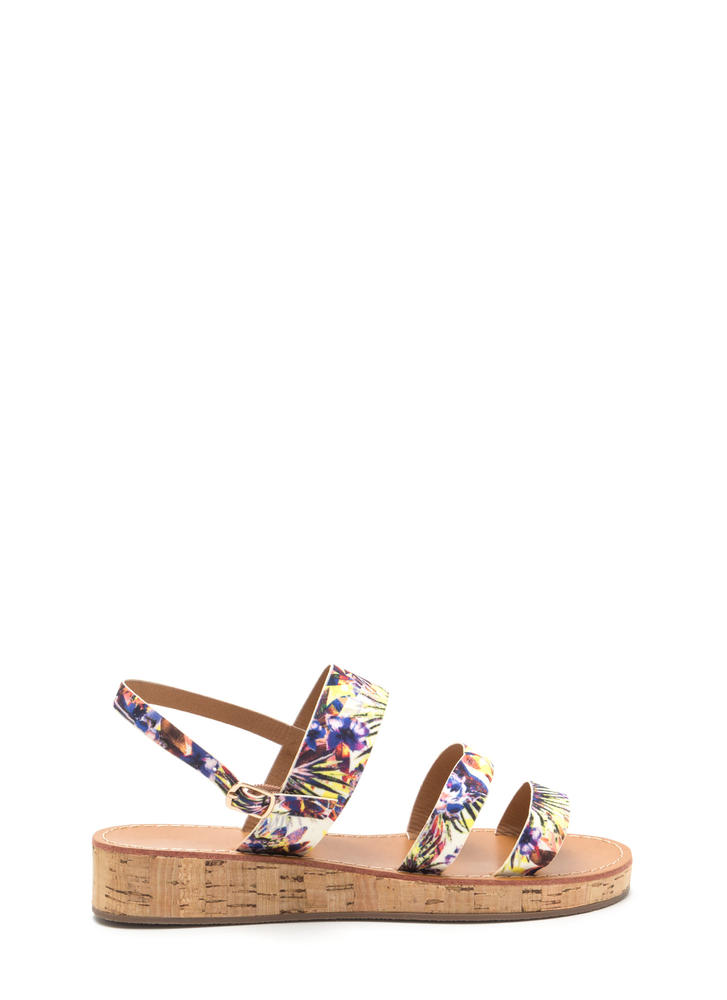 Fancy Footwork Strappy Floral Sandals