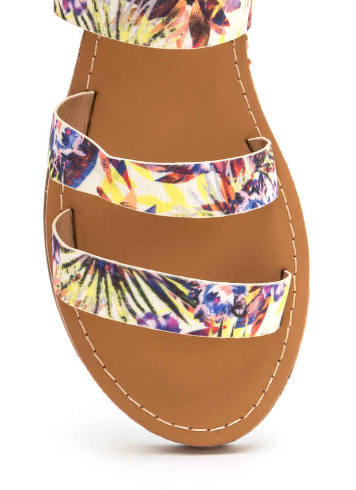 Fancy Footwork Strappy Floral Sandals YELLOWBLUE