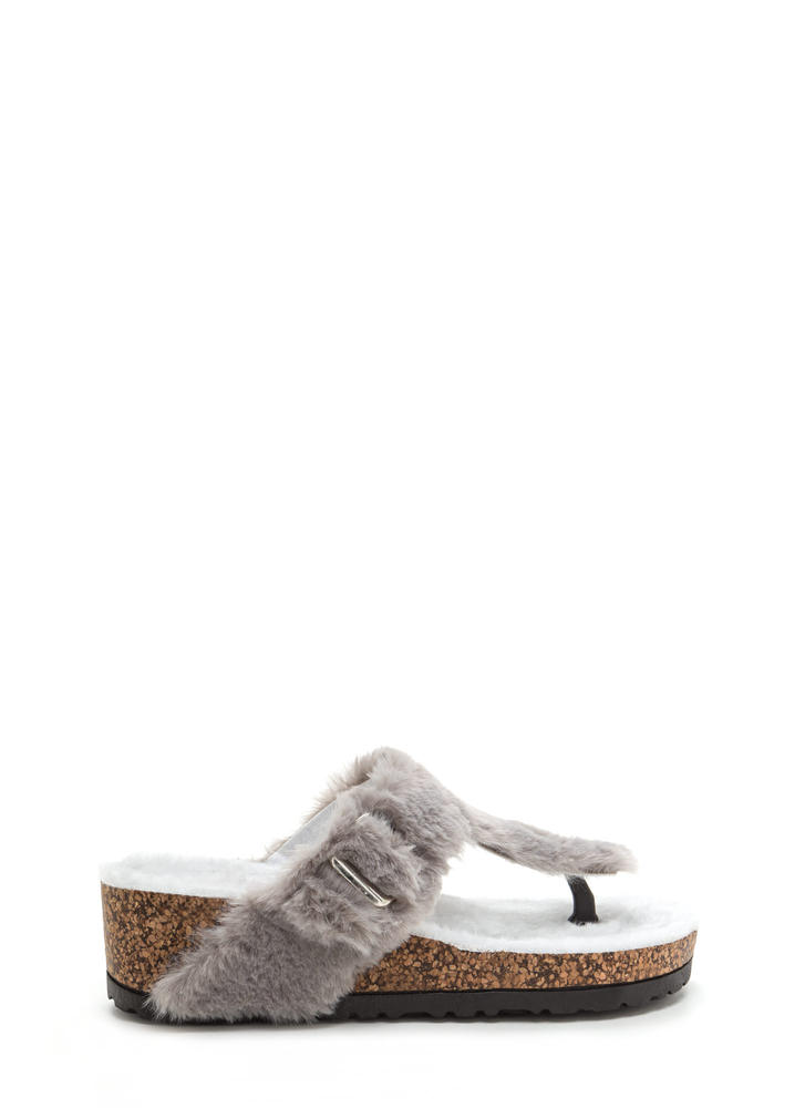 Fur Keeps T-Strap Platform Wedges GREY