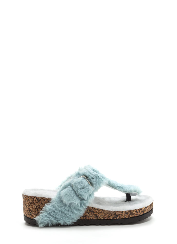 Fur Keeps T-Strap Platform Wedges MINT