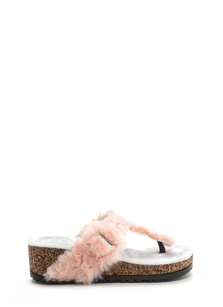 Fur Keeps T-Strap Platform Wedges PINK
