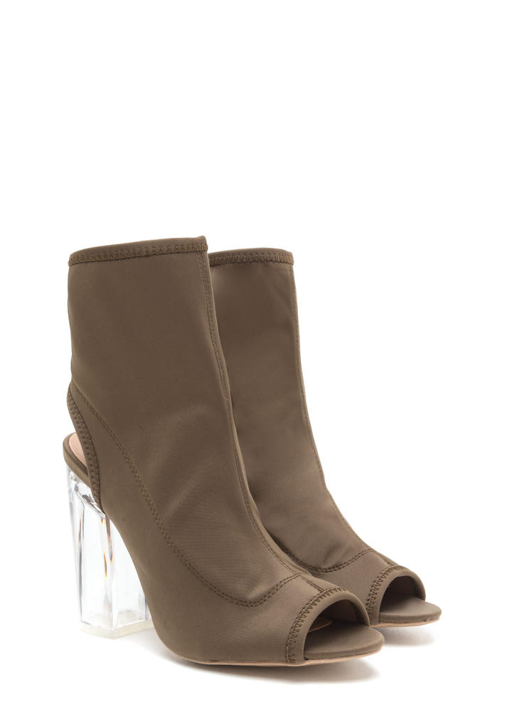 Clearly A Cut-Out Above Chunky Booties KHAKI