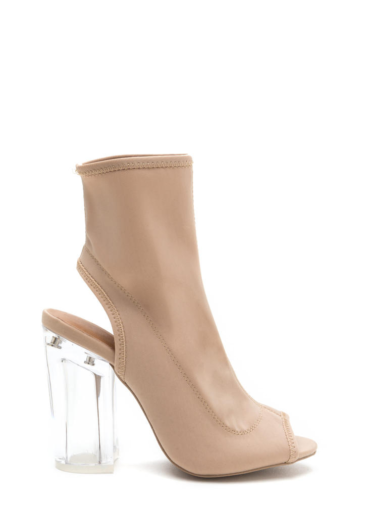 Clearly A Cut-Out Above Chunky Booties NUDE