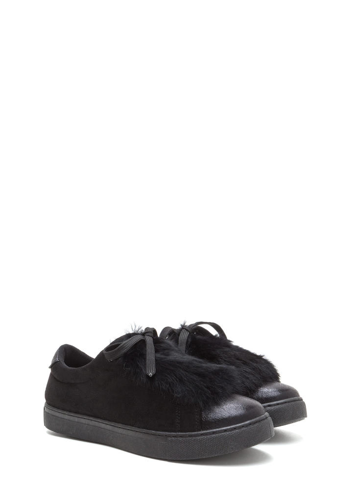 Fur The Best Metallic Lace-Up Sneakers BLACK