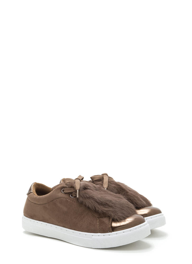 Fur The Best Metallic Lace-Up Sneakers CAMEL