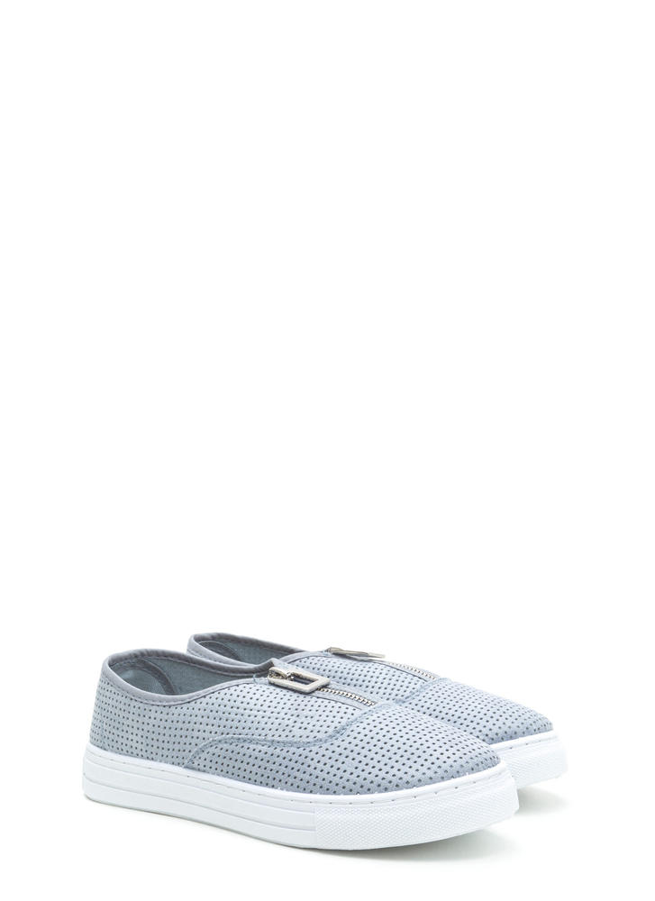 Box 'Em Up Perforated Platform Sneakers ASHBLUE
