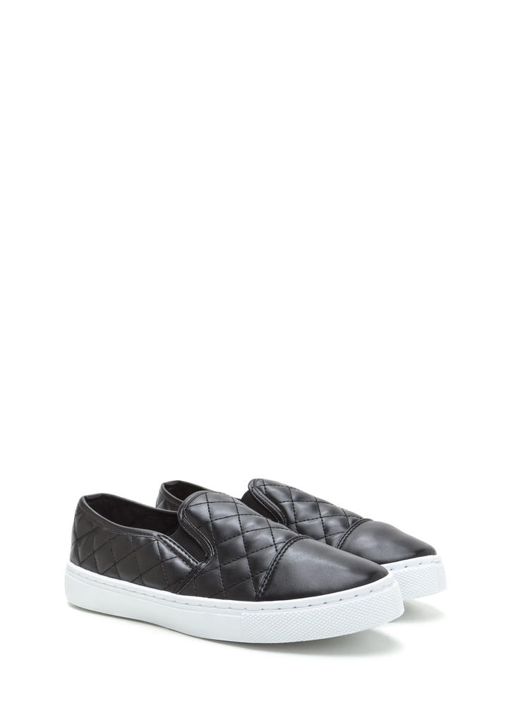 Quilted Cool Faux Leather Sneakers BLACK