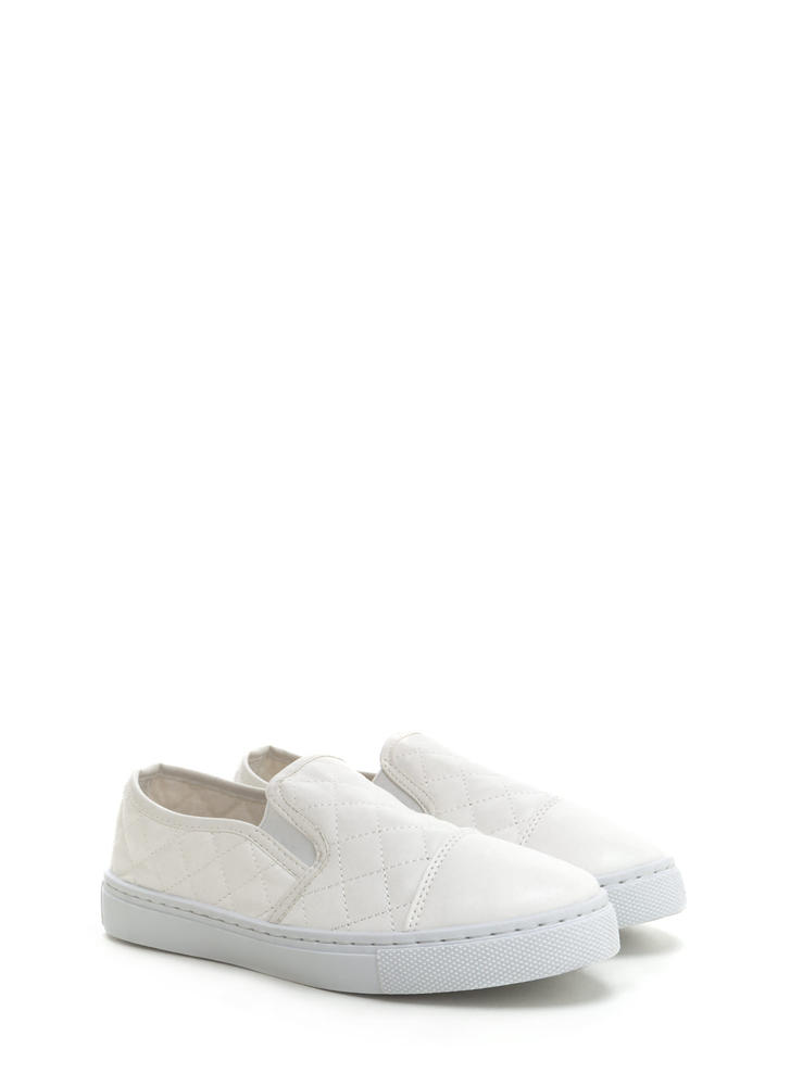 Quilted Cool Faux Leather Sneakers WHITE