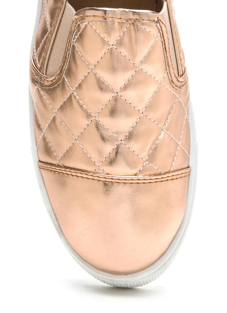 Quilted Cool Metallic Sneakers ROSEGOLD