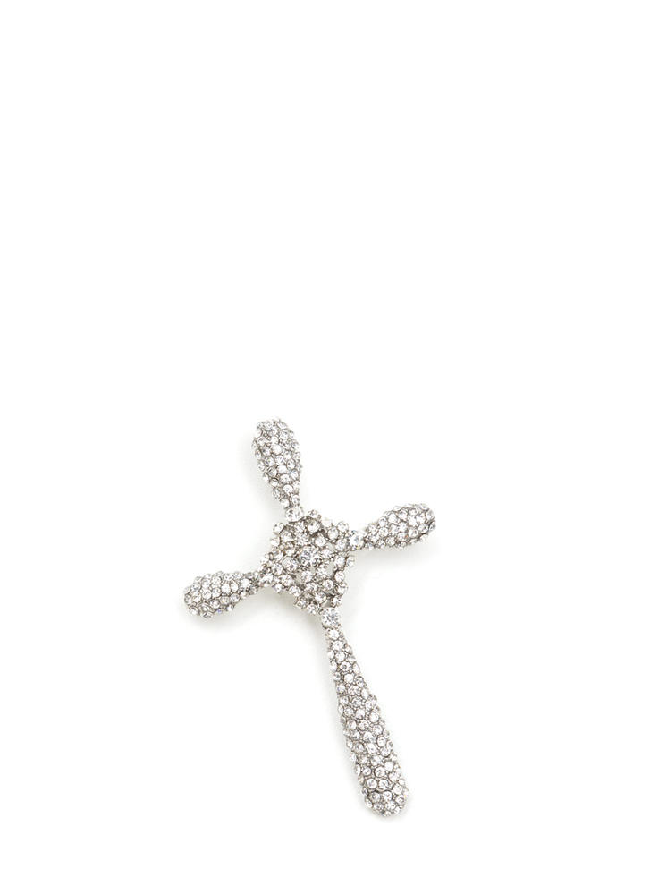 Cross Your Heart Faux Diamond Pin