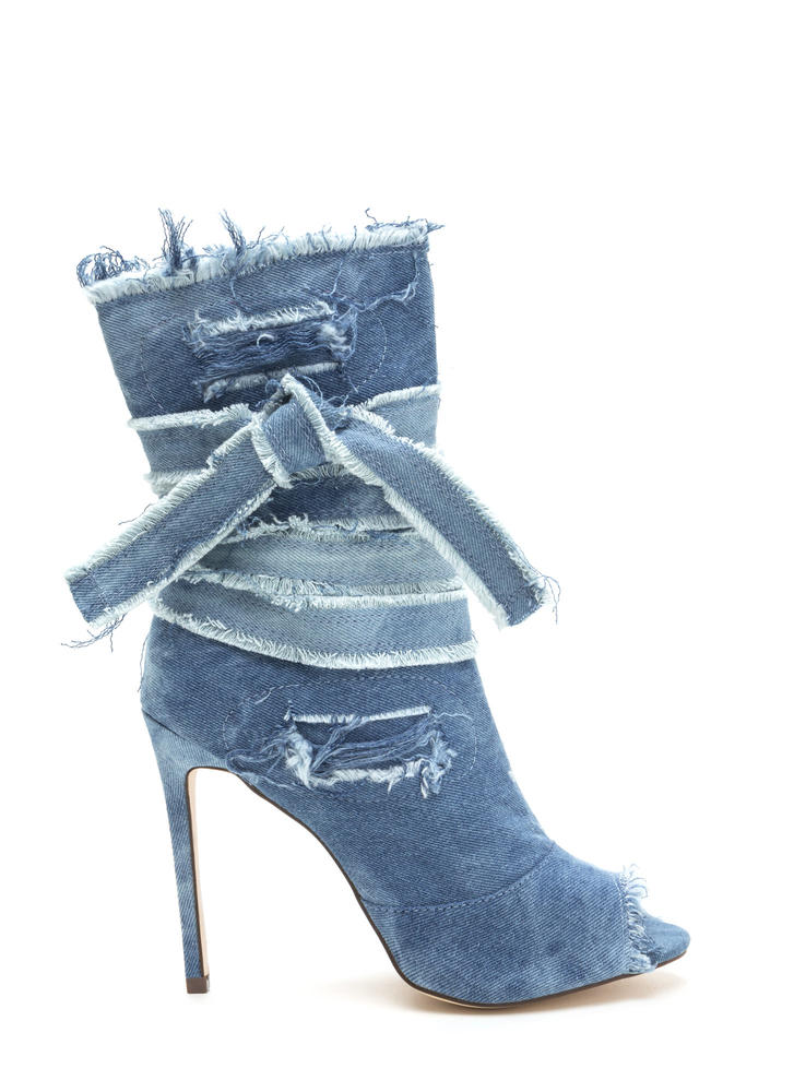 Jean Well Distressed Denim Booties
