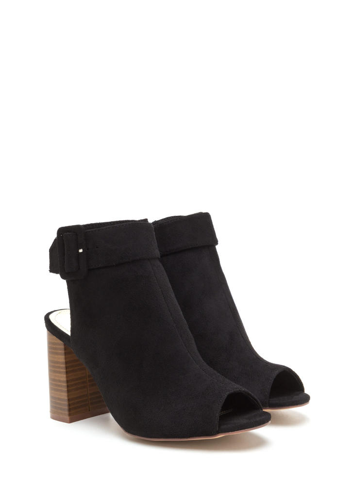 My Business Faux Suede Chunky Heels BLACK