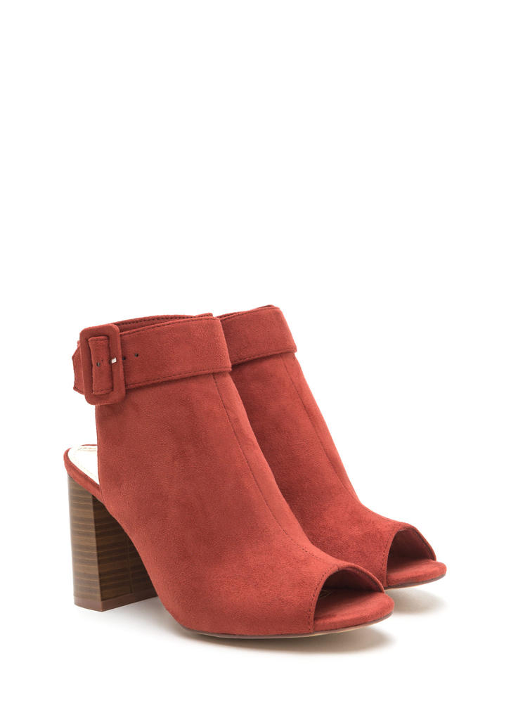 My Business Faux Suede Chunky Heels CINNAMON
