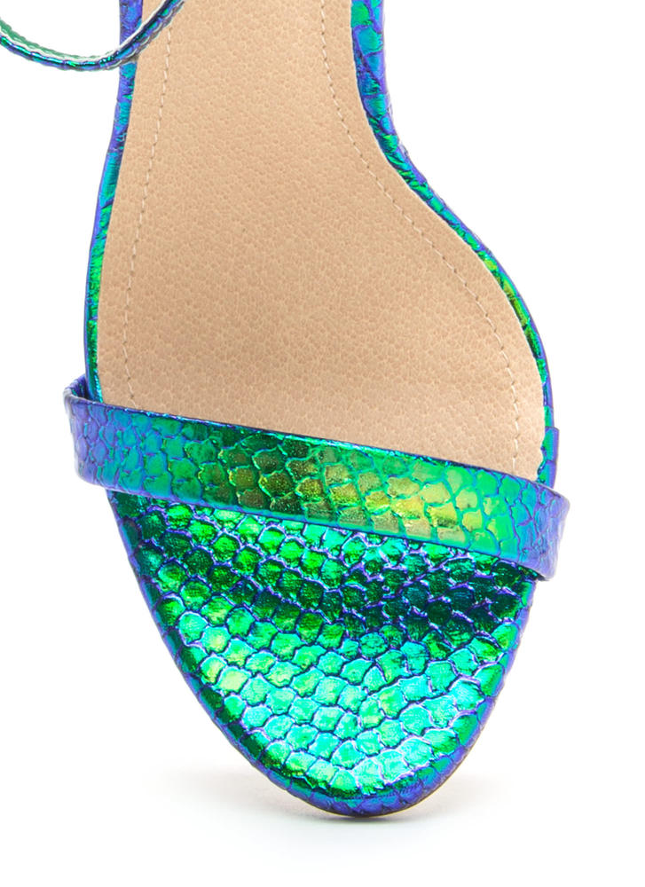 Livin' Is Easy Scaled Ankle Strap Heels GREEN