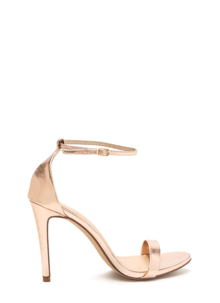 Livin' Is Easy Shiny Ankle Strap Heels