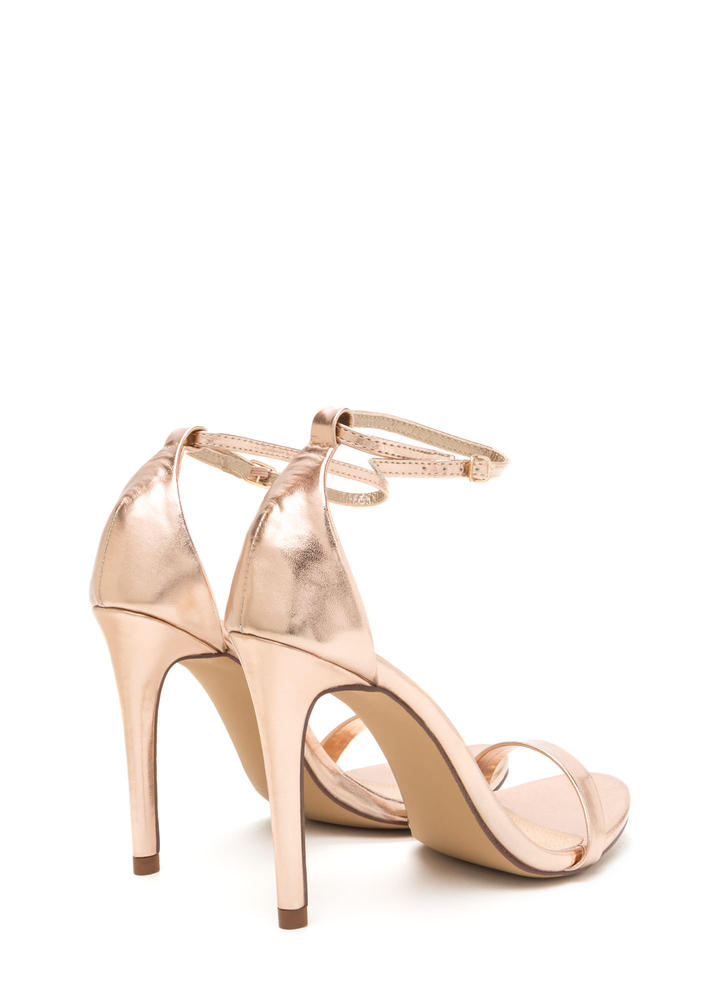 Livin' Is Easy Shiny Ankle Strap Heels ROSEGOLD