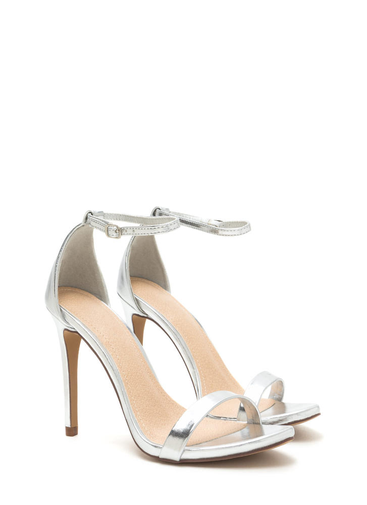 Livin' Is Easy Shiny Ankle Strap Heels SILVER