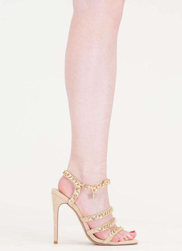 Locked In Strappy Chain Heels NUDE