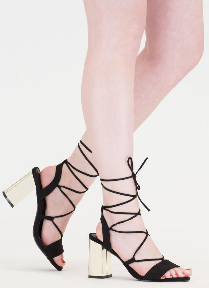 Shine For You Chunky Lace-Up Heels BLACK