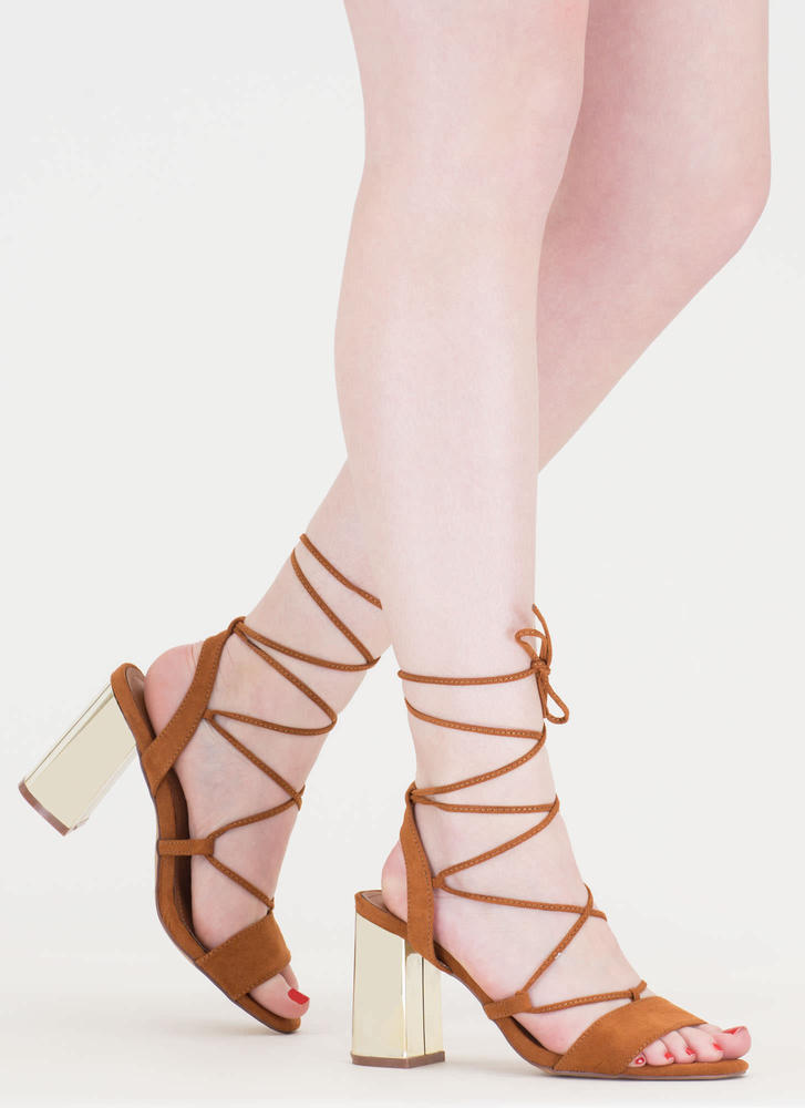 Shine For You Chunky Lace-Up Heels