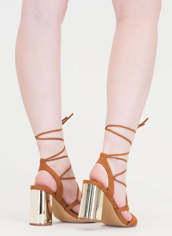 Shine For You Chunky Lace-Up Heels TAN