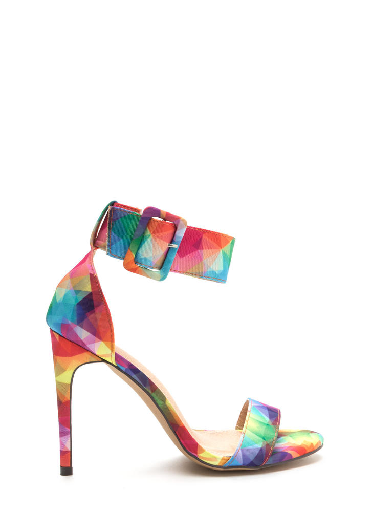 Pretty Prisms Buckled Strappy Heels MULTI