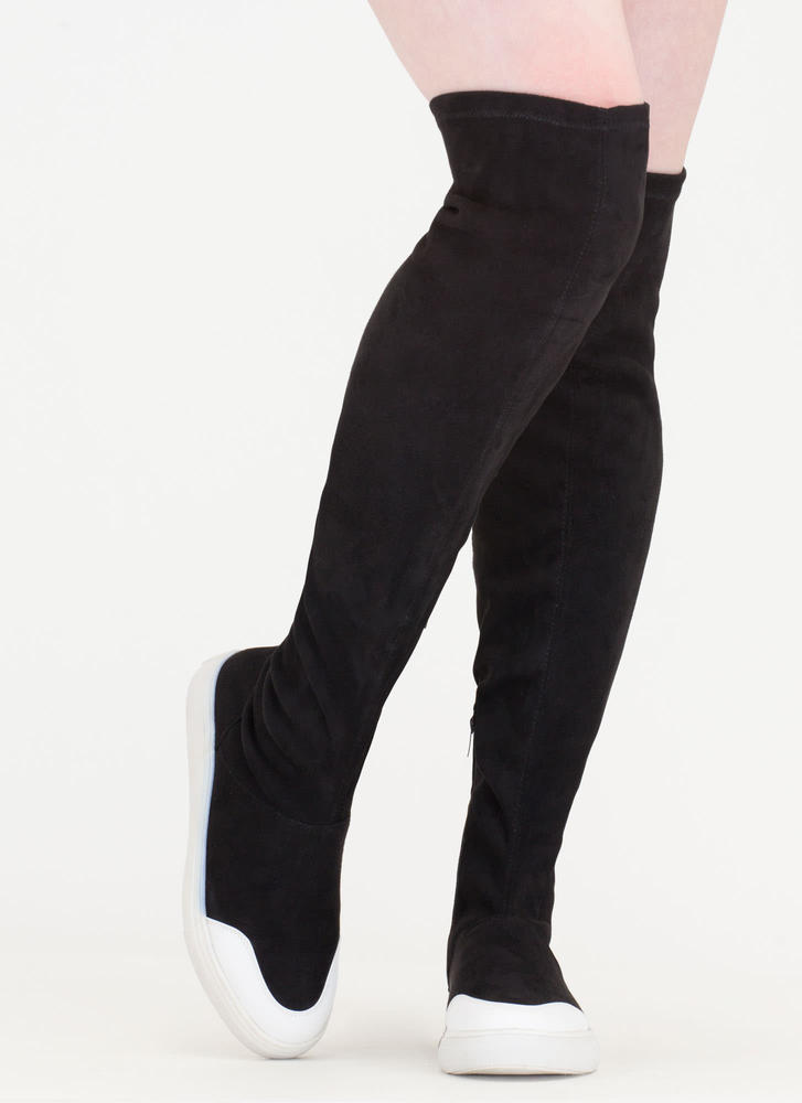 Way Up Top Thigh-High Sneaker Boots BLACK