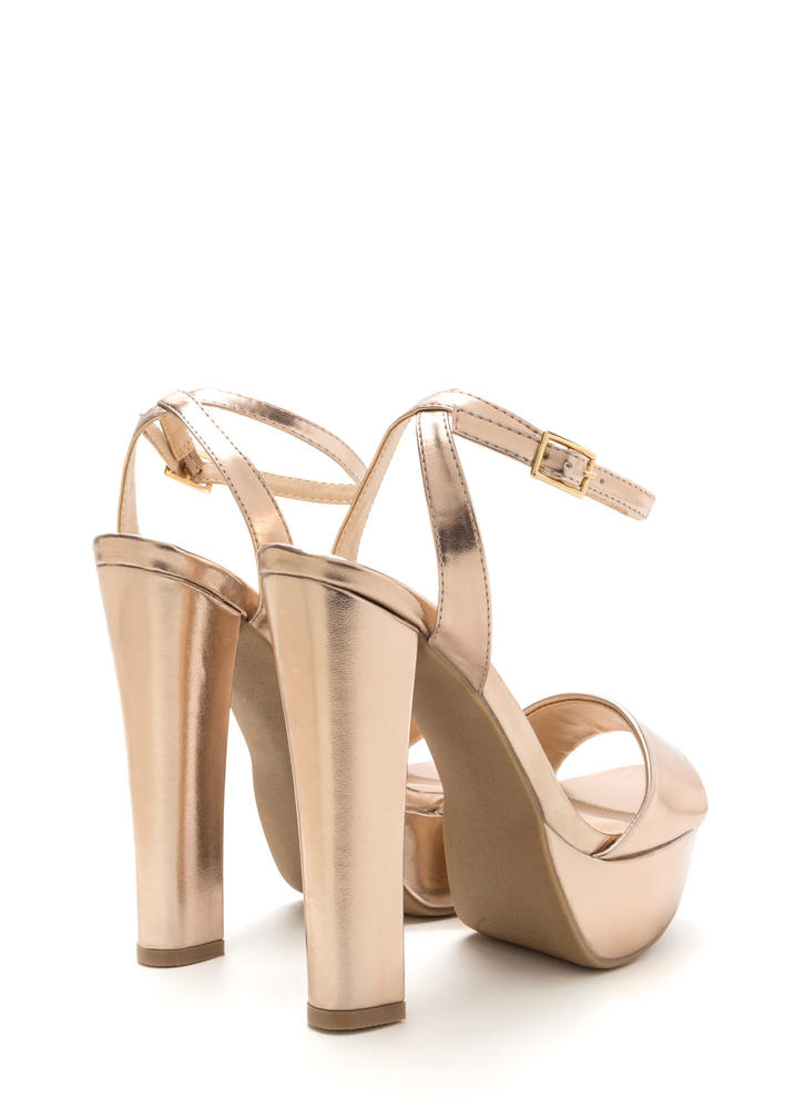 Party Time Strappy Chunky Platform Heels ROSEGOLD