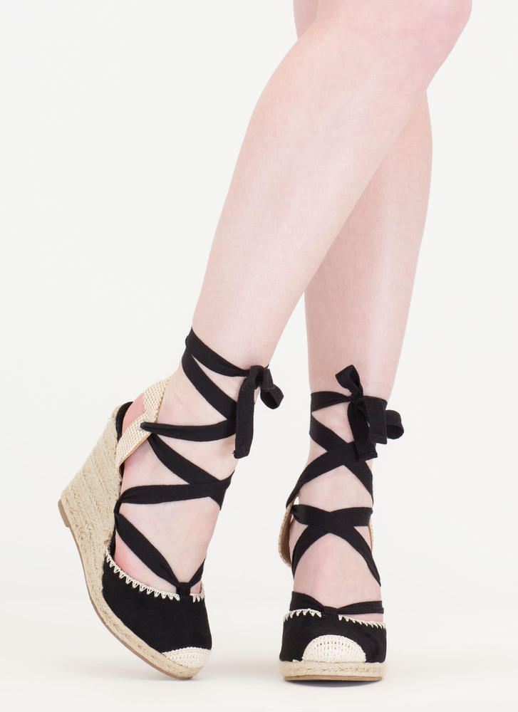 Vacay Mode Lace-Up Espadrille Wedges BLACK