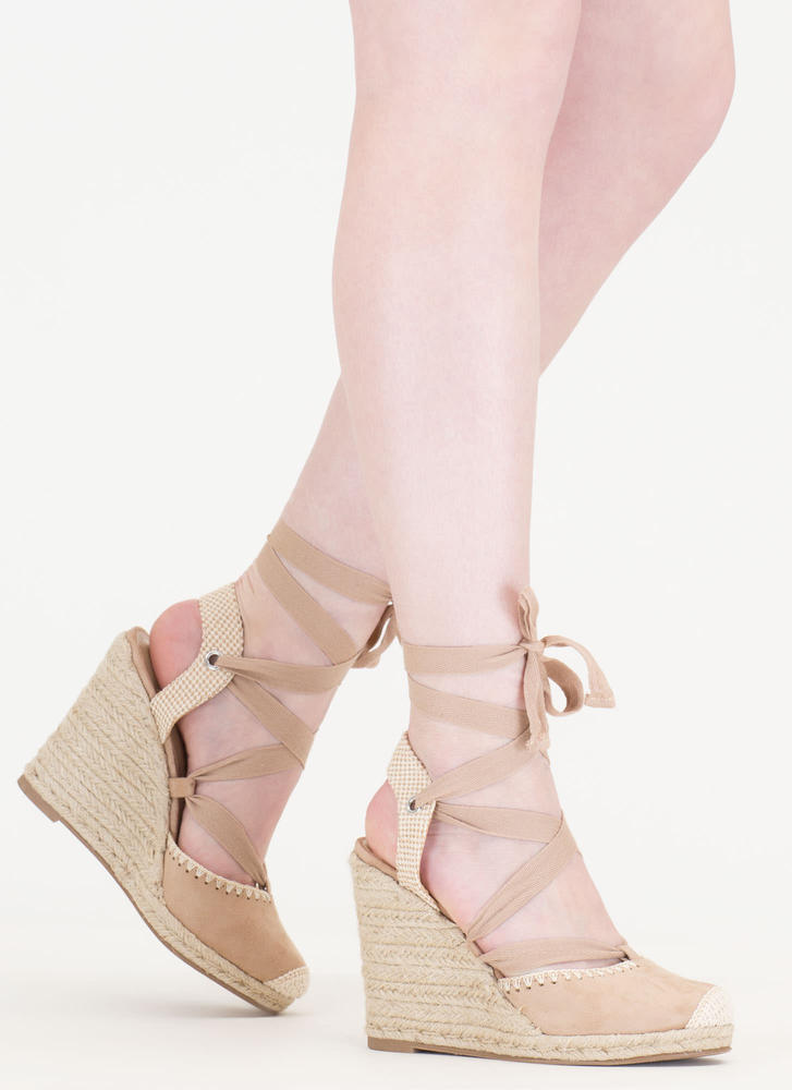 Vacay Mode Lace-Up Espadrille Wedges NATURAL