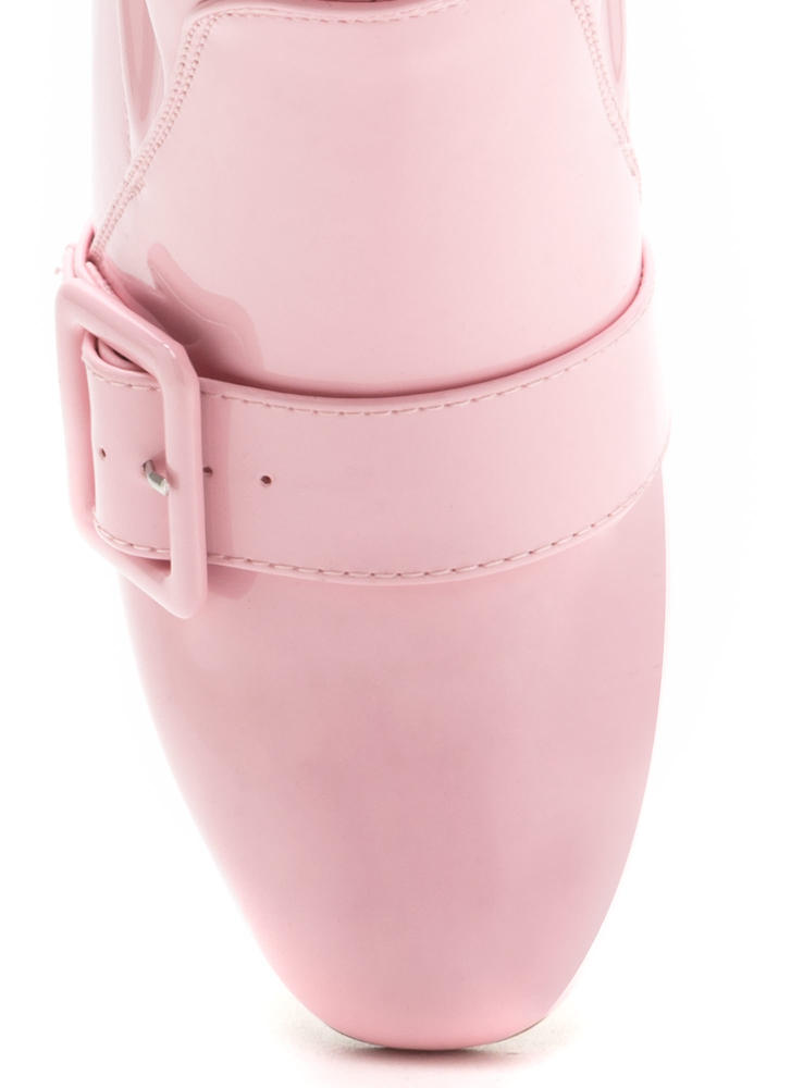 Buckle In Chunky Faux Patent Booties BABYPINK